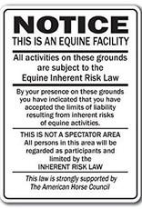 Arrent Enterprises, LLC NOTICE - Equine Inherent Risk Law (portrait) - Metal