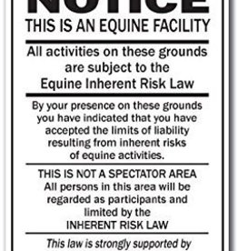 Arrent Enterprises, LLC NOTICE - Equine Inherent Risk Law (portrait) - Metal