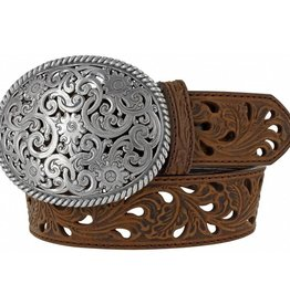 Tony Lama Belts Adult - Tony Lama Brown Pierced Filigree Trophy Belt