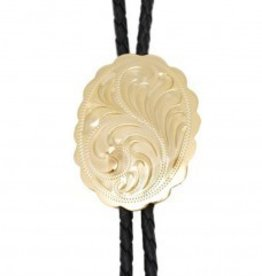 WEX Bolo Tie - German Silver Engraved, Gold Plated Oval