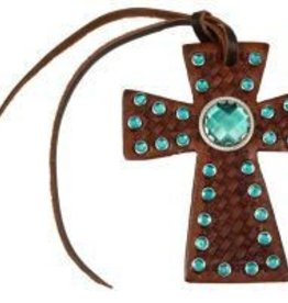 Tie On Cross w/ Emerald Rhinestones