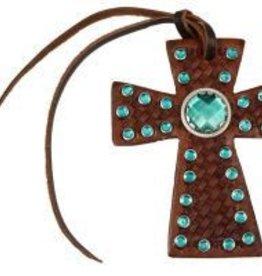 Tie On Cross w/ Emerald Rhinestones