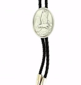 Double S Bolo Tie - Pewter Eagle