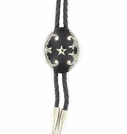 M & F Western Products Bolo Tie - Black Oval w/ Star