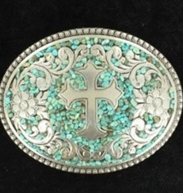 M & F Oval Berry Edge Turquoise w/Cross Buckle