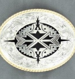 M & F Oval Rope Edge Aztec Buckle
