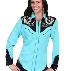 Scully Women's Scully Horseshoe Embroidered Shirt - Turquoise