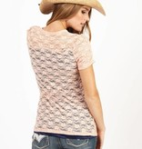 Women's Adiktd Stretch Lace Henly Peach/Navy Shirt - $44 @ 50% OFF!