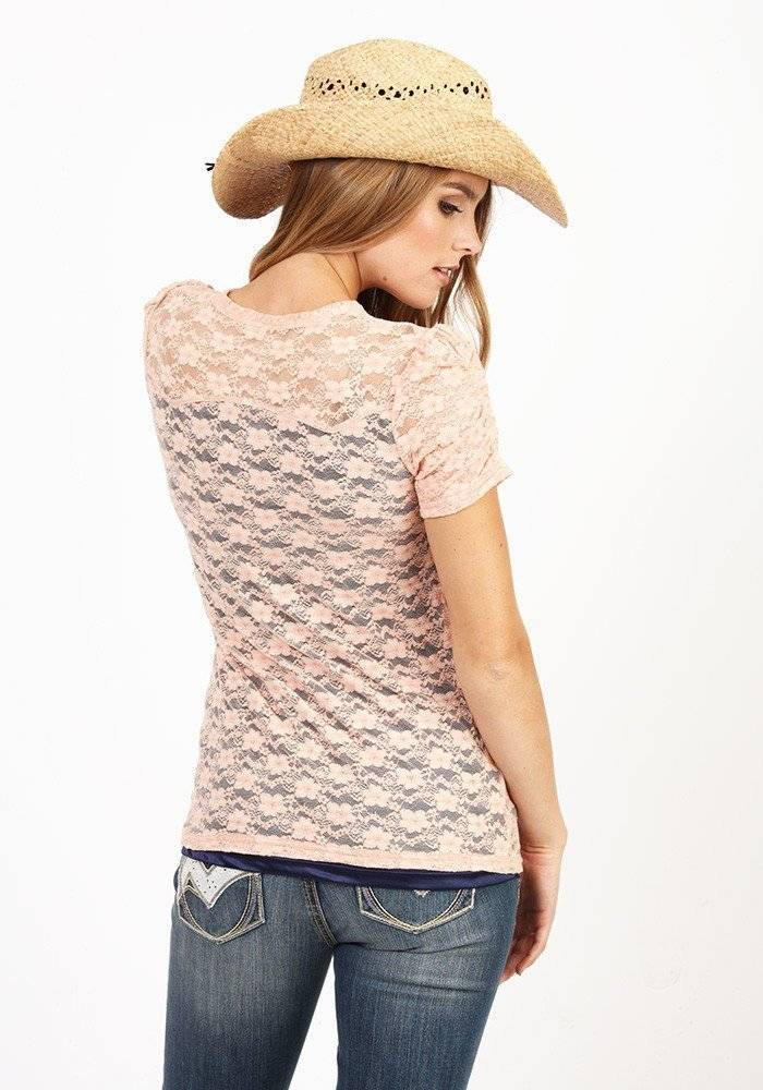 Women's Adiktd Stretch Lace Henly Peach/Navy Shirt - SALE $15