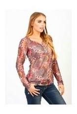 Women's Adiktd Printed Stretch Lace Shirt, Small (Reg $48.00 NOW $28.00 OFF)