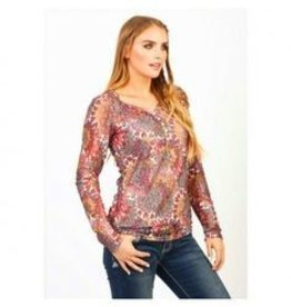 Women's Adiktd Printed Stretch Lace Shirt, Small (Reg $48.00 NOW $28.00 OFF)