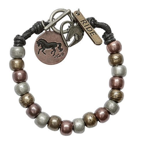 AWST International Bracelet - Mixed Metal Beaded Toggle