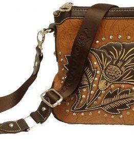 "Showman Handbag - Floral Messenger Style w/Rhinestones - 8.5""w x 8.5""h x 2""d"