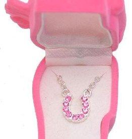 Western Express Necklace - Pink Rhinestone Horseshoe