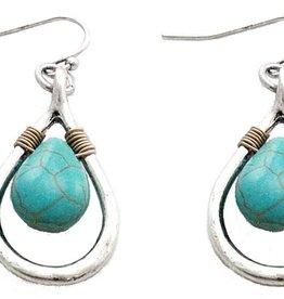 WEX Earrings - Drop Silver w/Turquoise