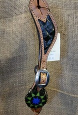 Alamo Saddlery Beaded Medallion Spur Straps Black Gator Ladies