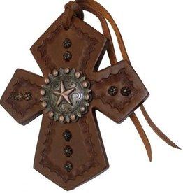 Showman Showman Leather Tie On Cross w/ Star Concho