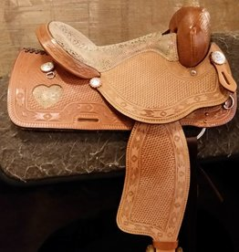 Circle L Canyon Rock U.S.A. Barrel Saddle, Snake 15""