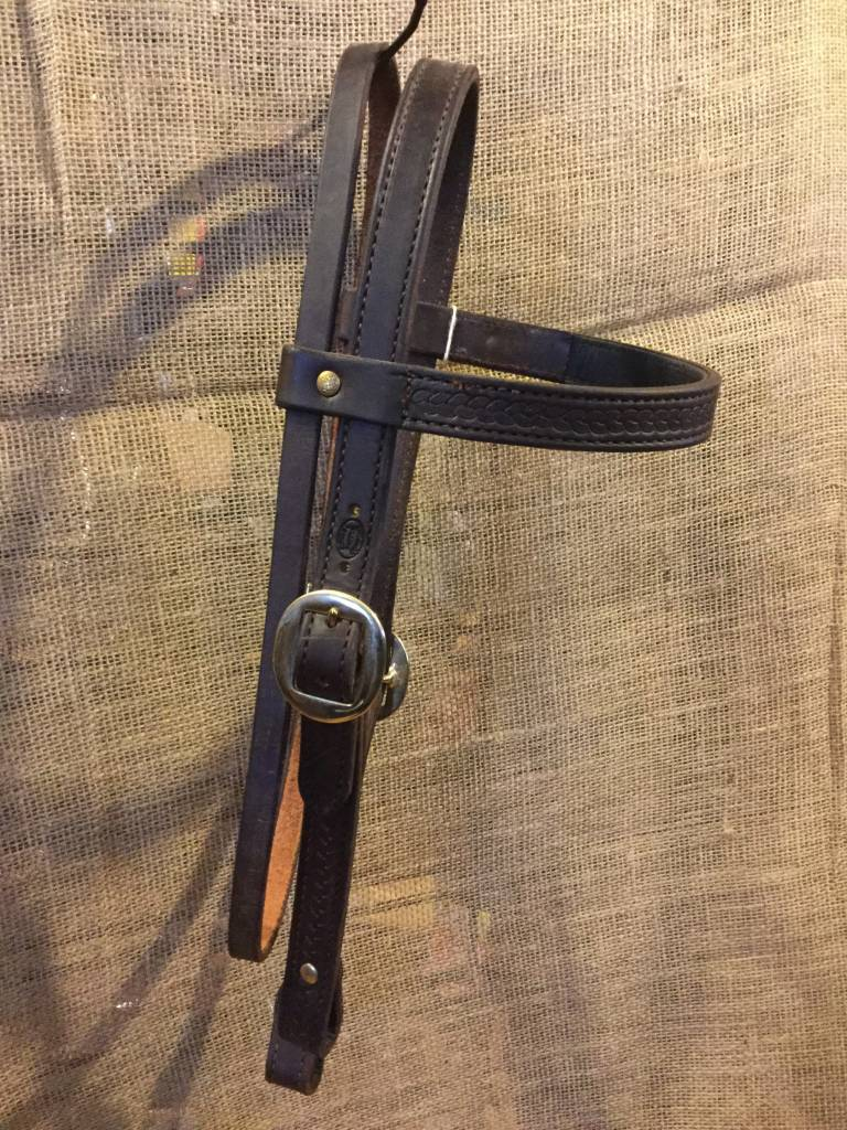 Circle L Western Headstall Rope Tooled Chocolate Full