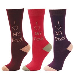 JPC Equestrian Childrens Socks - I Love My Pony - 3 Pack