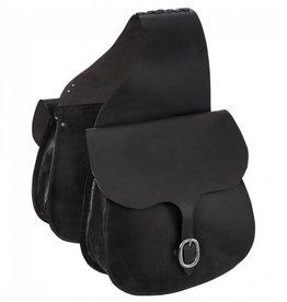 JT International Leather Saddle Bags - Black