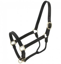 JT International Triple Stitch Leather Halter - Black, Horse