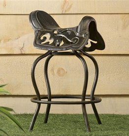 "Giftcraft Inc. Cast Iron Saddle Design Stool Chair - 16""x15""x25.5"""