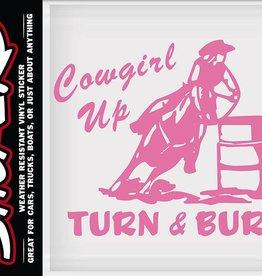 "WEX Cowgirl Up - Turn & Burn Sticker - Pink, 1/2"" x 4-1/2"""