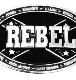 Western Express Rebel Belt Buckle - Black Oval, 4 x 2-1/2, Made in USA