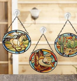 Giftcraft Inc. Hanging Western Stained Glass Sun Catchers