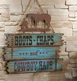 Giftcraft Inc. Iron & Wood Cowboy Design Wall Sign - 15.4x0.7x18.8(in)