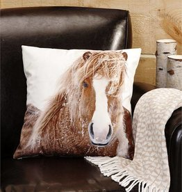 Giftcraft Inc. Horse Print Decorative Velvet Pillow - 17.7x17.7 (in)