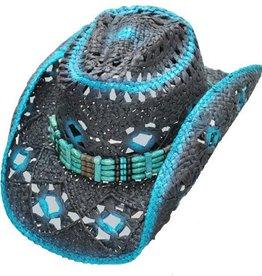 Western Express Diamond Hole Straw Hat - Blue Black