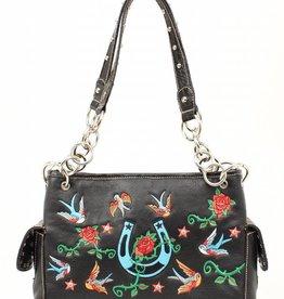 M & F Handbag - Roses & Birds Black