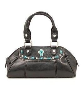 M & F Handbag - Satchel w/ Turquoise Cross Black