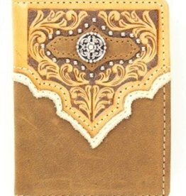 Nocona Wallet - Nocona Brown Tooled BiFold Flip