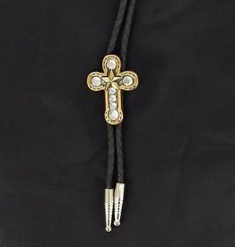 M & F Western Products Bolo Tie - Horseshoe Cross with Star