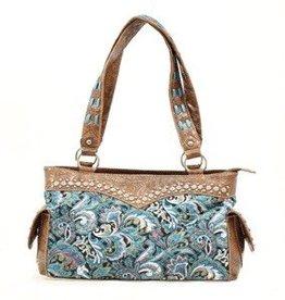 "M & F Handbag - Satchel, Turquoise - 12""x5""x8"""