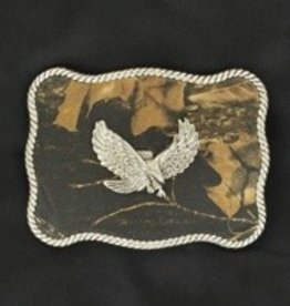 M & F Western Products Belt Buckle - Camo with Eagle & Rope Edge