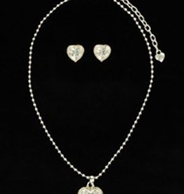 M & F Western Products Set - Necklace/Earrings - Crystals in Spurs