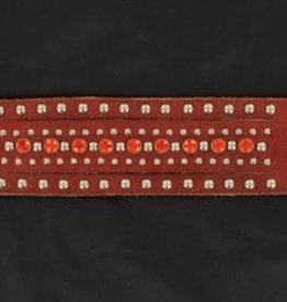 M & F Bracelet - Studs & Crystals, Brown Leather