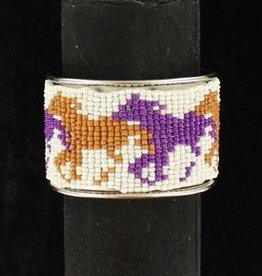 M & F Western Products Bracelet - Running Horses, Brown, Tan, White