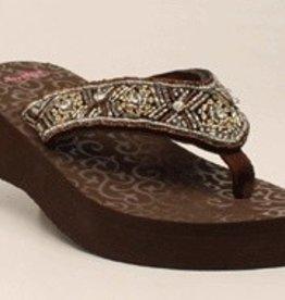 "M & F Western Products Women's 1-7/8"" Medium Heel Flip Flop"