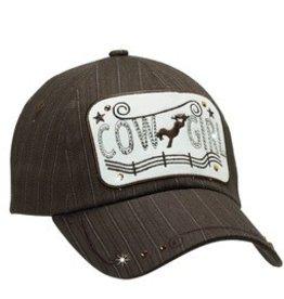 Cowgirl Ball Cap with Rhinestone Pinstripe, Brown