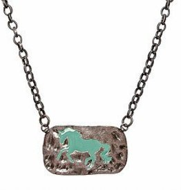 """AWST International Necklace - Hammered Metal """"Lila"""" Horse, Copper Tone"""