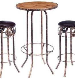 Tough1 3 Piece Pub Table and Stool (2) Set - Barrel Racer