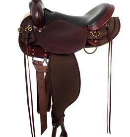 "Circle Y of Yoakum Circle Y High Horse - Eldorado Cordura Trail Saddle Tobac 16"" FQHB"