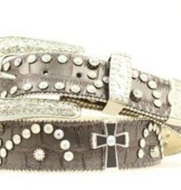 M & F Adult - Nocona Croc Cross Crystal Belt