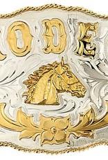 Western Express Belt Buckle - German Silver Rodeo Horsehead