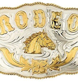 Western Express Belt Buckle - German Silver Rodeo Horsehead